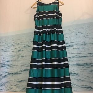 Long dress green and black stripes The Limited